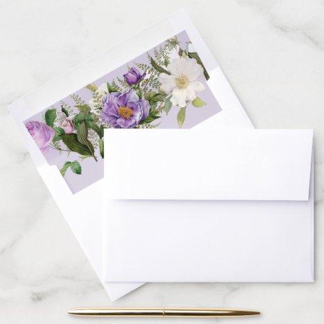 Ivory and Lavender Envelope Liner Vintage Floral