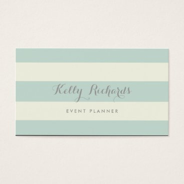 Professional Business Ivory and Mint Green Stripes Pattern Business Card