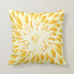 Ivory and Mustard Yellow Modern Floral Pillow