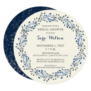 4c8f4823a2a7 Ivory and Navy Floral Bridal Shower Invitations