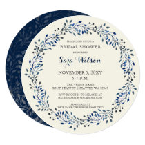 Ivory and Navy Floral Bridal Shower Invitations