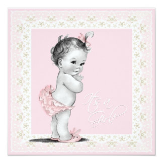 Ivory and Pink Baby Shower Personalized Invites
