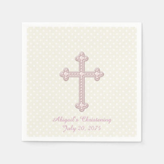 Ivory and Pink Cross Christening Paper Napkin