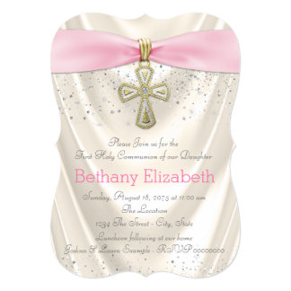 Ivory and Pink Cross First Communion Satin Glitter Card