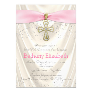 Ivory and Pink Cross First Communion Satin 4.5x6.25 Paper Invitation Card
