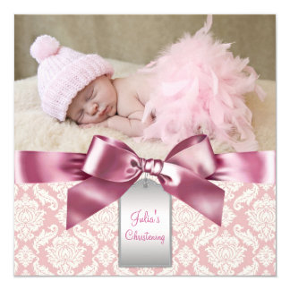Ivory and Pink Damask Baby Girl Photo Christening 5.25x5.25 Square Paper Invitation Card