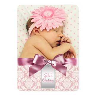"Ivory and Pink Damask Baby Girl Photo Christening 5"" X 7"" Invitation Card"