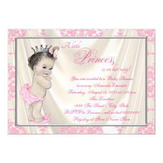 Ivory and Pink Damask Baby Shower Satin Card