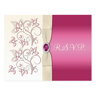 Ivory and Pink Floral R.S.V.P. Postcard