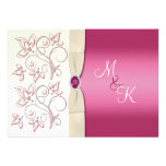 Ivory and Pink Monogrammed Wedding Invitation