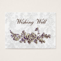 Ivory and Purple Vintage Floral Wedding Business Card
