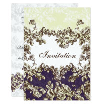 Ivory and Purple Vintage Floral Wedding Card