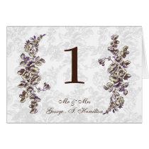Ivory and Purple Vintage Floral Wedding Card