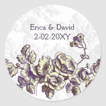 Ivory and Purple Vintage Floral Wedding Classic Round Sticker