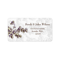 Ivory and Purple Vintage Floral Wedding Label