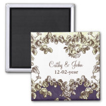 Ivory and Purple Vintage Floral Wedding Magnet