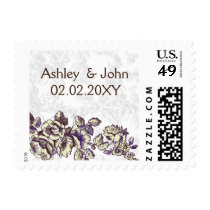 Ivory and Purple Vintage Floral Wedding Postage
