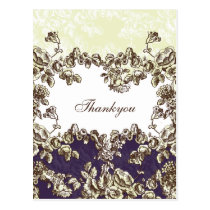 Ivory and Purple Vintage Floral Wedding Postcard