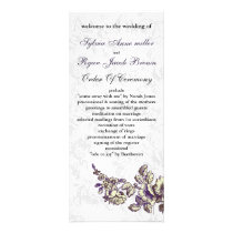 Ivory and Purple Vintage Floral Wedding Rack Card
