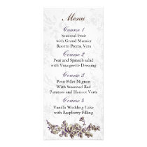 Ivory and Purple Vintage Floral Wedding Rack Card