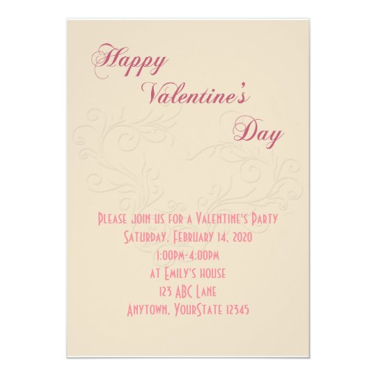 Ivory and Rose Heart Valentine Party Invitation