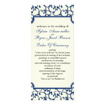 ivory and royal blue Wedding program