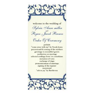 ivory and royal blue Wedding program
