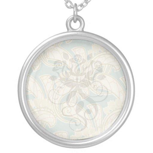 ivory and sage art nouveau botanical pattern flora pendants