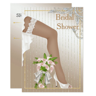 Ivory and Satin African American Bridal Shower Card