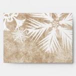 Ivory and White Christmas Snowflakes Envelopes