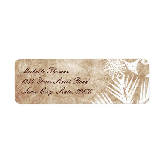 Ivory and White Christmas Snowflakes Label