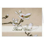 Ivory and White Magnolia Thank you Card