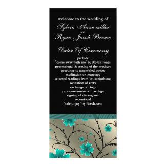 ivory aqua and black floral Wedding program