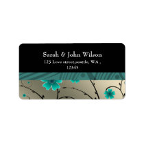 ivory aqua floral return address label