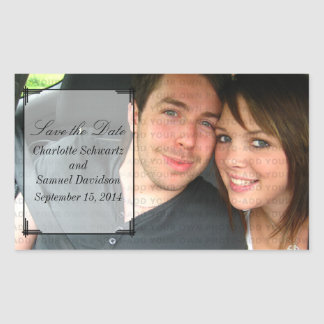 Ivory Art Deco Frame Save the Date Stickers
