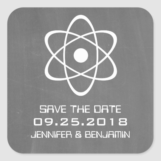 Ivory Atomic Chalkboard Save the Date Stickers