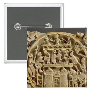 Ivory back of a mirror depicting the God of Love 2 Inch Square Button