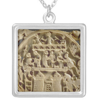 Ivory back of a mirror depicting the God of Love Square Pendant Necklace