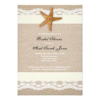 Ivory Beach Burlap Lace Bridal Shower Invitation