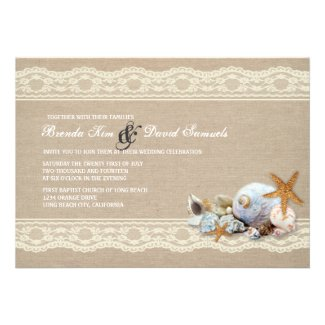 Ivory Beach Burlap Lace Wedding Invitation