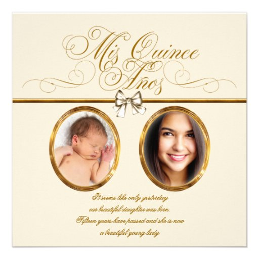 Ivory Beige Gold Photo Quinceanera Invitations