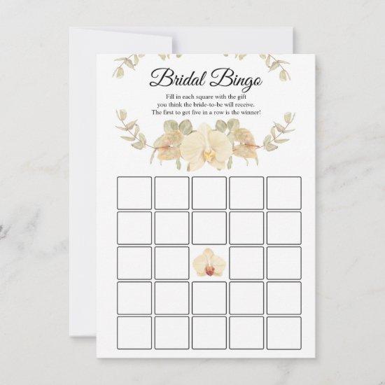 Ivory, Beige, Orchids & Eucalyptus Bridal Bingo Invitation