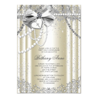 Ivory Beige Pearl Cross First Communion 4.5x6.25 Paper Invitation Card