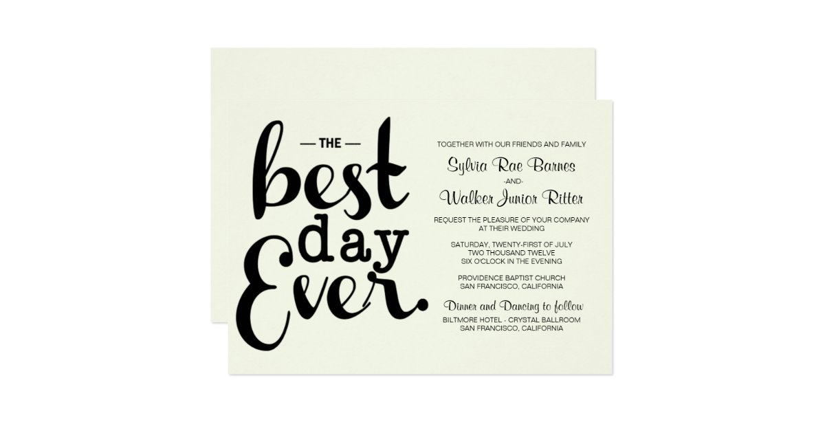 Best Wedding Invitations Ever: Ivory - Best Day Ever - Wedding Invitation