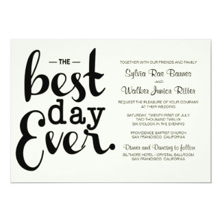 Ivory - Best Day Ever - Wedding Invitation