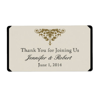 Ivory Black and Gold Damask Water Bottle Label Shipping Label