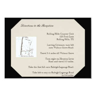 Ivory Black and Gold Damask Wedding Directions Card