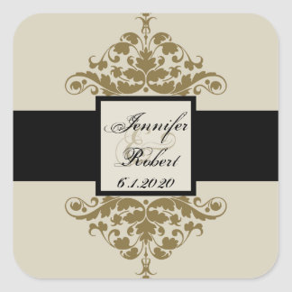 Ivory Black and Gold Damask Wedding Envelope Seal