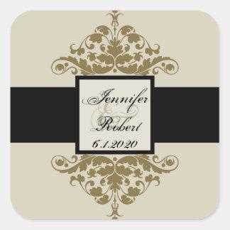 Ivory Black and Gold Damask Wedding Envelope Seal Square Sticker