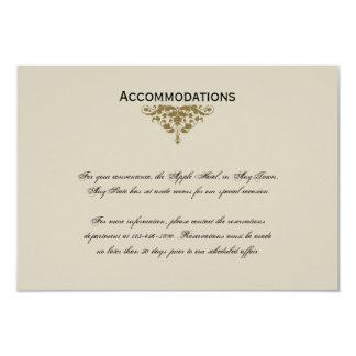 "Ivory Black and Gold Damask Wedding Insert 3.5"" X 5"" Invitation Card"